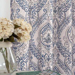 """84""""  Linen Blend Light Filtering Paisley Curtains"""